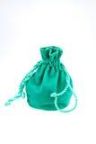 Small green velvet pouch Stock Image