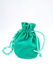 Small green velvet pouch Royalty Free Stock Image