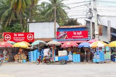 Small grocery stores, Battambang, Cambodia. Small grocery stores along the road in Battambang, Cambodia Stock Photos