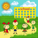 Small group of children near the school Royalty Free Stock Images