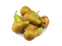 Small group of conference pears on a white. Small group of conference pears on white background Royalty Free Stock Photography