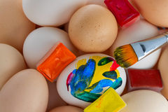 Small group of eggs. Of different colours Stock Images