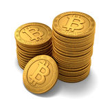 Small group of engraved golden Bitcoins Stock Photos