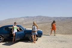 Small group of friends by car in desert, looking at view, elevated view Royalty Free Stock Photo