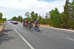 Breakaway Group Of Cyclists  La Vuelta España. A small group gets ahead of the Peleton in La Vuelta España stage 9 2017 Royalty Free Stock Image