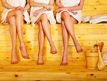 Small group girl in sauna. Royalty Free Stock Images