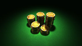 Small group of gold casino chips Stock Photos