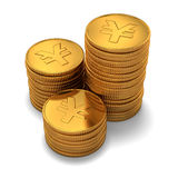 Small group of gold chinese yuan coins on white. 3d rendering of small group of gold chinese yuan coins on white background Stock Images