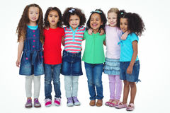 Small group of kids standing together royalty free stock photos