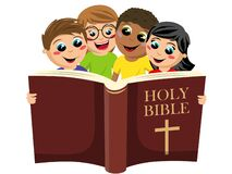 Free Small Group Of Multicultural Kids Reading The Holy Bible Book Isolated On White Royalty Free Stock Photos - 168858598