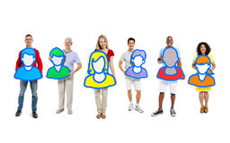 Small group of people holding avatars Royalty Free Stock Photography