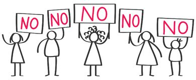 Small group of protesting stick figures, men and women holding up boards saying NO. Isolated on white background Royalty Free Stock Photos