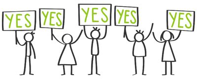 Small group of protesting stick figures, men and women holding up boards saying YES. Isolated on white background Stock Photos