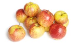 Small group of red apples. Heap of red apples isolated on a white background Royalty Free Stock Image