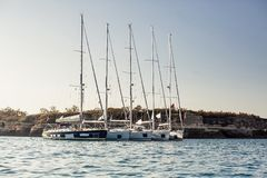 Small group of ship yachts Stock Images