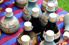 Small group of spell bottles Stock Photo