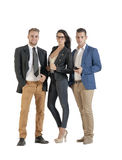 Small group of young business people working standing together Royalty Free Stock Photo