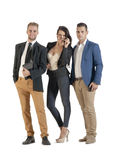 Small group of young business people working standing together Royalty Free Stock Photos