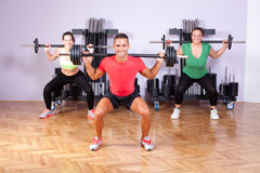 Small group of young people in aerobics class Royalty Free Stock Image