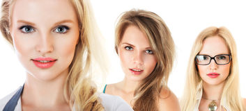 Small group of young women collage Stock Images
