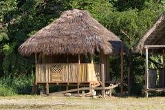 Small habitation shack in the Amazon of Ecuador. June 6, 2017 Misahualli, Ecuador: small habitation shack made of bamboo in the Amazon area stock photos