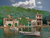 Small Habour. The smaller of two sea inlets at Cala Figuera in Mallorca, Spain is perfect for small boats Stock Photos