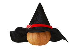 Small Halloween pumpkin in witch hat Stock Photos