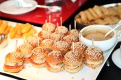 Small hamburer. Small hamburger for the party stock images