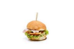 Small hamburger canapes on white. Small juicy hamburger canapes on white Stock Images