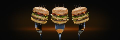 A small hamburger stuck in the fork. The concept of adequate nutrition. 3d rendering vector illustration