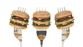 A small hamburger stuck in the fork. The concept of adequate nutrition. 3d rendering stock illustration