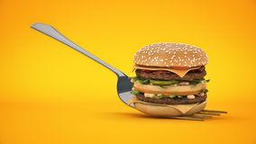 A small hamburger stuck in the fork. The concept of adequate nutrition. 3d rendering royalty free illustration