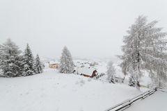 Small hamlet in snow Stock Photo