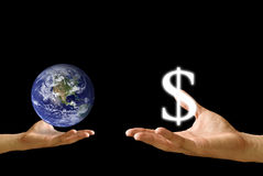 Small hand exchange the world with Dollar icon Royalty Free Stock Images