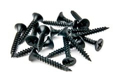 Small handful of black screws Royalty Free Stock Images