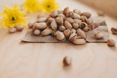 Small handful of pistachios royalty free stock image