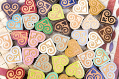 Small handmade clay hearts, Morocco Royalty Free Stock Photos