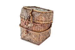 Small handmade wicker box is unlocked on white background. A small handmade wicker box is unlocked on white background Royalty Free Stock Image