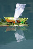 Small handmade wooden boat Stock Photo