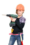 Small handyman with electric screwdriver Royalty Free Stock Photography