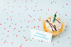 Small happy birthday cake. With dot background royalty free stock images