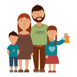 Small happy family. Small happy family, vector illustration Stock Images