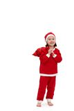 Small happy girl in santa costume Royalty Free Stock Photos