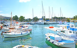 Small harbor with boats Aegina Greece Royalty Free Stock Images