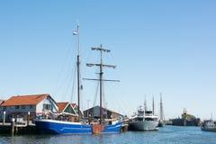 Small harbor Dutch island Texel Stock Photo