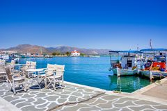 The small harbor on Elafonisos island, Peloponnese. Greece stock photo