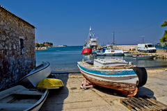 Small harbor in fishermen village Stock Photos