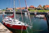 Small harbor in Gudhjem on Bornholm royalty free stock photography