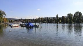 Small Harbor And River View In Switzerland stock photos