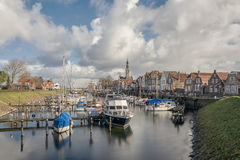 Small harbor in the village. View of the historic town in the Dutch province Stock Photography